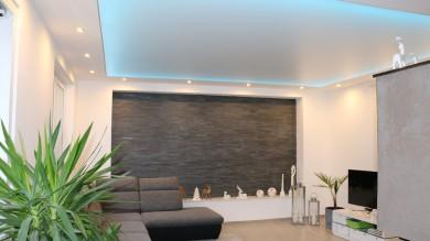 Spanndecke weiss matt LED Beleuchtung, Deckenbespannung